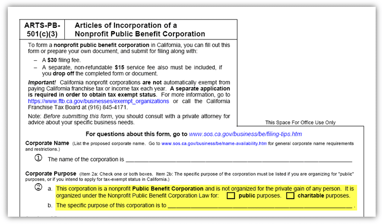 Corporate Purpose Statement for a California Nonprofit Public Benefit Corporation