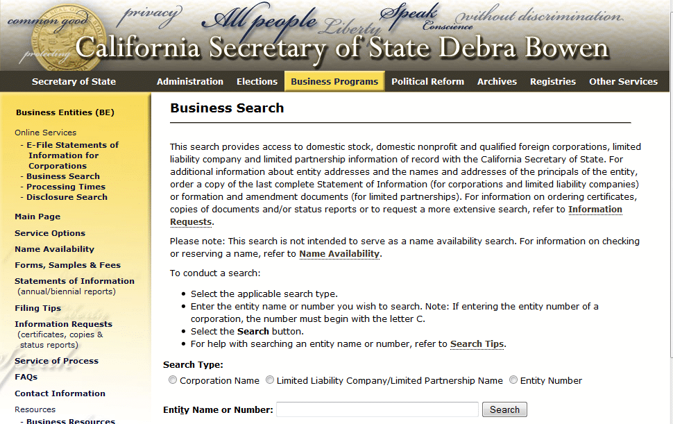 California Business Search Form